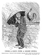 """Under a Cloud (with a Golden Lining). Comrade Lansbury. """"Thanks to my faithful Brolski not a drop has touched me."""" [Loud crows from """"Daily Herald"""" bird."""