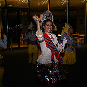 The Scoop, London, UK. 22nd October 2017. Llamerada World Encounter an indigenous day celebration in 35 cities around the world of Bolivian dancers, in traditional dance costumes, dancing with live music to promote the rich living heritage of Bolivia.