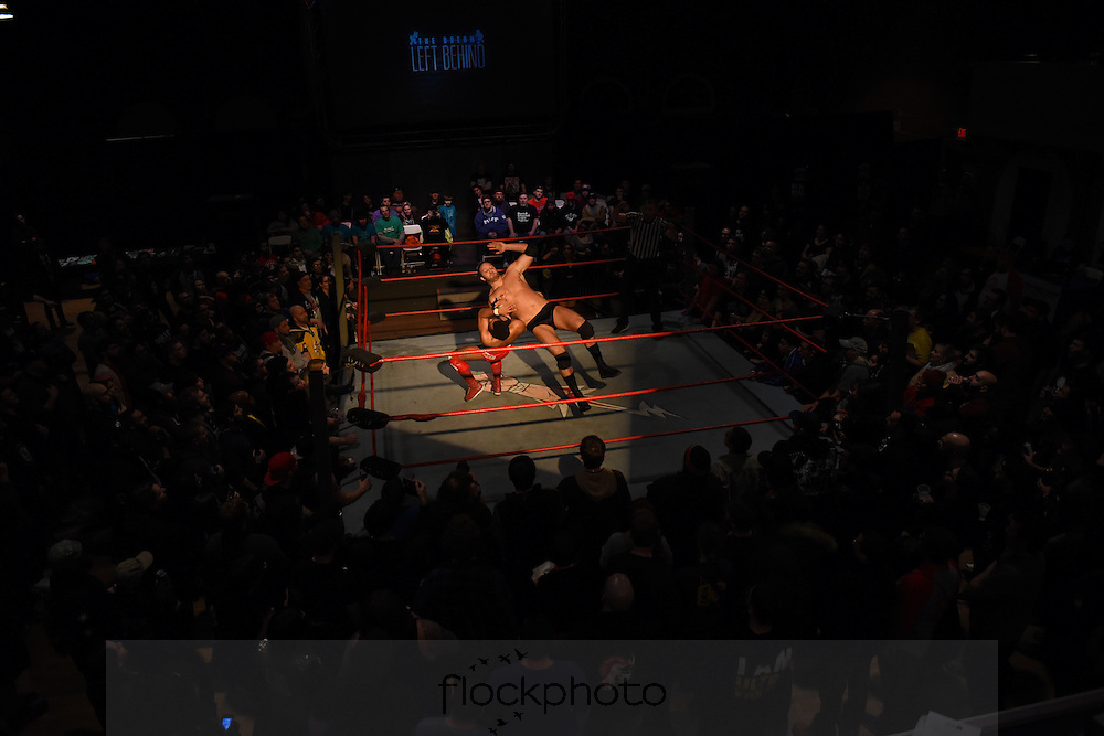 """Ryan Galeone (r) and Jonathan Gresham fight during the Beyond Wrestling Organization's """"Dream Left Behind"""" event, held at the Center for Arts at the Armory in Somerville, Sunday, Jan. 31, 2016."""