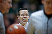 SHOT 2/23/10 9:21:07 PM - Colorado State head basketball coach Tim Miles argues a call against his team with the referees while playing New Mexico during the first half of their regular season Mountain West Conference game at Moby Arena in Fort Collins, Co. New Mexico survived a tight game winning 72-66. (Photo by Marc Piscotty / © 2010)