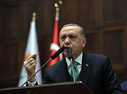 February 6, 2018 - Ankara, Turkey - Turkish President RECEP TAYYIP ERDOGAN speaks during the ruling Justice and Development Party's parliamentary group meeting in Ankara. Defying the U.S. warnings, Turkish President Recep Tayyip Erdogan on Tuesday vowed that Turkish troops would expand cross-border military operations from Syria's Afrin to Manbij. (Credit Image: © Mustafa Kaya/Xinhua via ZUMA Wire)