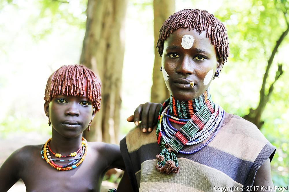 Hamer women in Karo Village, Dus <br /> Omo Valley, Ethiopia 2017