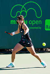 March 22, 2018 - Key Biscayne, FL, U.S. - KEY BISCAYNE, FL - MARCH 22: Carla Suarez Navarro (ITA) in action on Day 4 of the Miami Open on March 22, 2018, at Crandon Park Tennis Center in Key Biscayne, FL. (Photo by Aaron Gilbert/Icon Sportswire) (Credit Image: © Aaron Gilbert/Icon SMI via ZUMA Press)
