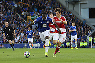 Romelu Lukaku of Everton gets away from Marten de Roon of Middlesbrough. Premier league match, Everton v Middlesbrough at Goodison Park in Liverpool, Merseyside on Saturday 17th September 2016.<br /> pic by Chris Stading, Andrew Orchard sports photography.