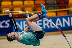 Rody de Wolff in action on pole vault during the Dutch Athletics Championships on 14 February 2021 in Apeldoorn