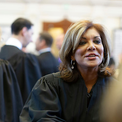 Texas Supreme Court Justice Eva Guzman is shown at the State of the Judiciary ceremony at the Texas Capitol on March 6, 2013.   Guzman, the first Hispanic woman to serve on the Texas Supreme Court, resigned her position and is rumored to be considering a challenge to Attorney General Ken Paxton.