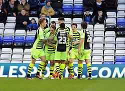 Yeovil Town's James Hayter celebrates his second goal with team mates. - Photo mandatory by-line: Dougie Allward/JMP - Tel: Mobile: 07966 386802 18/01/2014 - SPORT - FOOTBALL - St Andrew's Stadium - Birmingham - Birmingham City v Yeovil Town - Sky Bet Championship