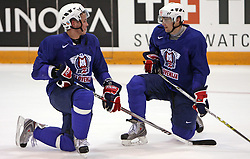 Damjan Dervaric and Ales Kranjc at practice of Slovenian national team at Hockey IIHF WC 2008 in Halifax,  on May 01, 2008 in Forum Centre, Halifax, Canada.  (Photo by Vid Ponikvar / Sportal Images)