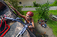 """""""This was my first time outdoor rock climbing,"""" said Kaitlyn Macdonald '23 from Southborough, MA, who participated in the Colgate University Basecamp Wilderness Adventure on Moss Island in Little Falls, N.Y., August 22, 2019.<br /> Mark DiOrio / Colgate University"""