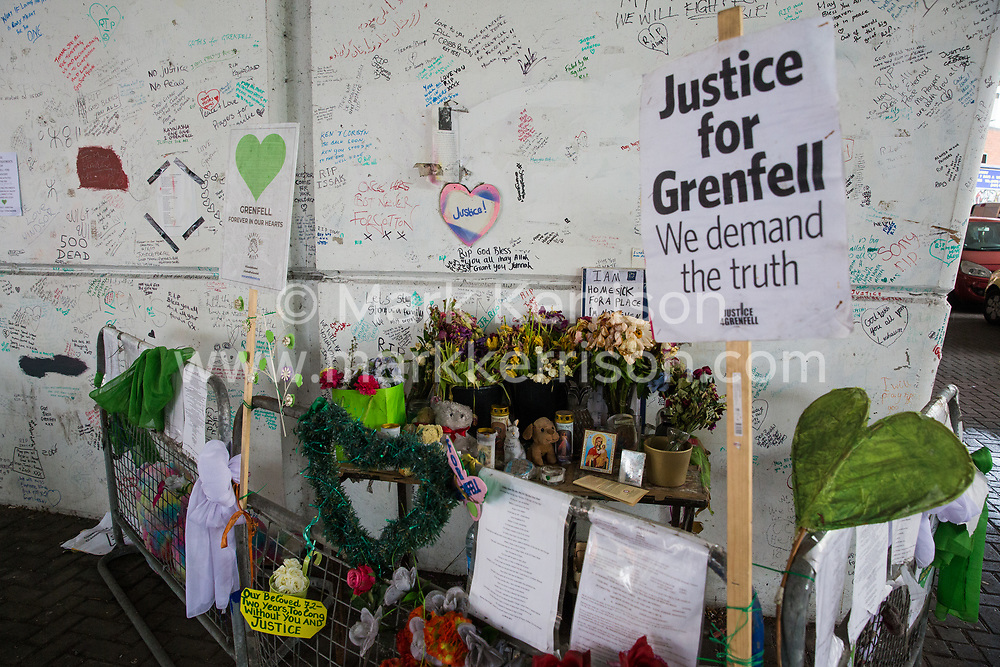 London, UK. 13 June, 2019. Tributes to those who died in the Grenfell Tower fire underneath the Westway close to the Grenfell Tower in North Kensington. Tomorrow, the Grenfell community will mark the second anniversary of the Grenfell Tower fire on 14th June 2017 in which 72 people died and over 70 were injured. Two years on, some family members remain in temporary accommodation and many are still traumatised. Phase 2 of the Grenfell Inquiry will begin in 2020, with criminal investigation findings expected to be sent to the Crown Prosecution Service in 2021.