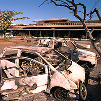 Aftermath of riots in Tahiti, French Polynesia, following the first in a series of nuclear tests being carried out by the French at Moruroa in the South Pacific. Accession #: 2.95.345.001.07
