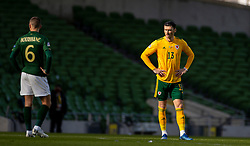 DUBLIN, REPUBLIC OF IRELAND - Sunday, October 11, 2020: Wales' Kieffer Moore before the UEFA Nations League Group Stage League B Group 4 match between Republic of Ireland and Wales at the Aviva Stadium. The game ended in a 0-0 draw. (Pic by David Rawcliffe/Propaganda)