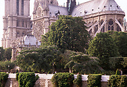 Rear view from the Seine of Notre Dame Cathedral and gardens, Paris, France