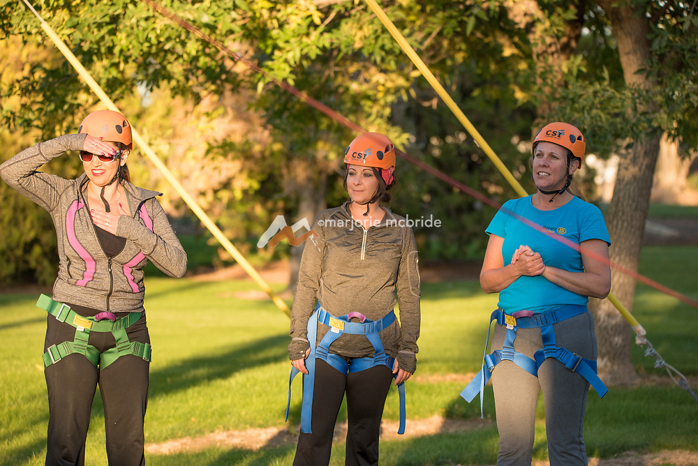 Woman participating in the College of Southern Idaho Challenge Rope Course Twin Falls, Idaho.