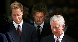 Prince Charles, Princes William and Harry leave the Service of Thanksgiving for the life of Diana, Princess of Wales, at the Guards' Chapel, London.