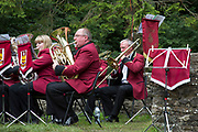 The Hardraw Scaur Brass Band Festival. Performance from Elland band. Organised by the Yorkshire and Humberside Brass Band Association, the competition is Britain's second oldest outdoor contest and takes place annually in Hardraw Scar in Wensleydale, North Yorkshire, England, UK. The area, a natural amphitheatre, attracts bands from all over the North of England and is a popular event amongst players and audiences alike.