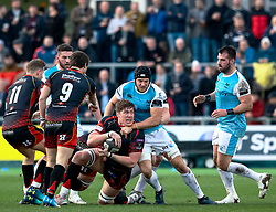 Matthew Screech of Dragons under pressure from James King of Ospreys<br /> <br /> Photographer Simon King/Replay Images<br /> <br /> Guinness PRO14 Round 12 - Dragons v Ospreys - Sunday 30th December 2018 - Rodney Parade - Newport<br /> <br /> World Copyright © Replay Images . All rights reserved. info@replayimages.co.uk - http://replayimages.co.uk