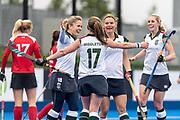Surbiton celebrate scoring. Holcombe v Surbiton - Investec Women's Hockey League Final, Lee Valley Hockey & Tennis Centre, London, UK on 29 April 2018. Photo: Simon Parker