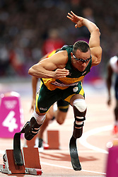 Oscar Pistorius of South Africa during the semi-final of the men's 400m held at the Olympic Stadium in Olympic Park in London as part of the London 2012 Olympics on the 5th August 2012..Photo by Ron Gaunt/SPORTZPICS