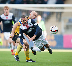 Livingston Simon Mensing and Falkirk's Phil Roberts.<br /> half time : Falkirk 1 v 0 Livingston, Scottish Championship game played today at the Falkirk Stadium.<br /> ©Michael Schofield.