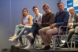 10-04-2019 NED: Kick off of Icederby in Thialf 2019/2020, Almere<br /> The Ultimate Icederby between long track and short track speed skating comes to invade the Netherlands / Jorien ter Mors, Jutta Leerdam, Michel Mulder en Bart Swings