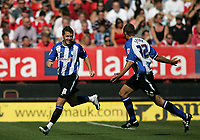 Photo: Lee Earle.<br /> Charlton Athletic v Sheffield Wednesday. Coca Cola Championship. 25/08/2007.Wednesday's Burton O'Brian (L) celebrates after scoring their opening goal.