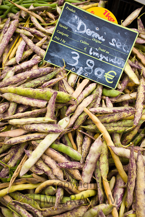 Local produce demi-sec beans on sale at farmers market in Normandy, France