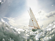 The american yawl, Dorade, pictured at the start of the 90th anniversary Rolex Fastnet Race on the Solent. A record fleet of 370 yachts will compete to win the Fastnet Challenge Cup.<br /> The 600 nautical mile race starts in Cowes, Isle of Wight, heading to the Fastnet Rock off the south west coast of Ireland and finishes in Plymouth.<br /> It is the world's biggest offshore race with 75% amateur sailors and professional yachtsmen competing against each other. <br /> Picture date Sunday 16th August, 2015.<br /> Picture by Christopher Ison. Contact +447544 044177 chris@christopherison.com