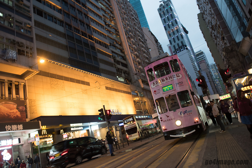 Hong Kong Wanchai January 2018<br /> <br /> Hong Kong Tramways was founded in 1904, with 26 tramcars of the first fleet were all single-deck. After more than 100 years, HKTW operate a fleet of 164 tramcars which includes 2 antique trams and 1 sightseeing tram. It is the world's largest double-deck tram fleet still in operation, carrying an average of 200,000 passengers every day.