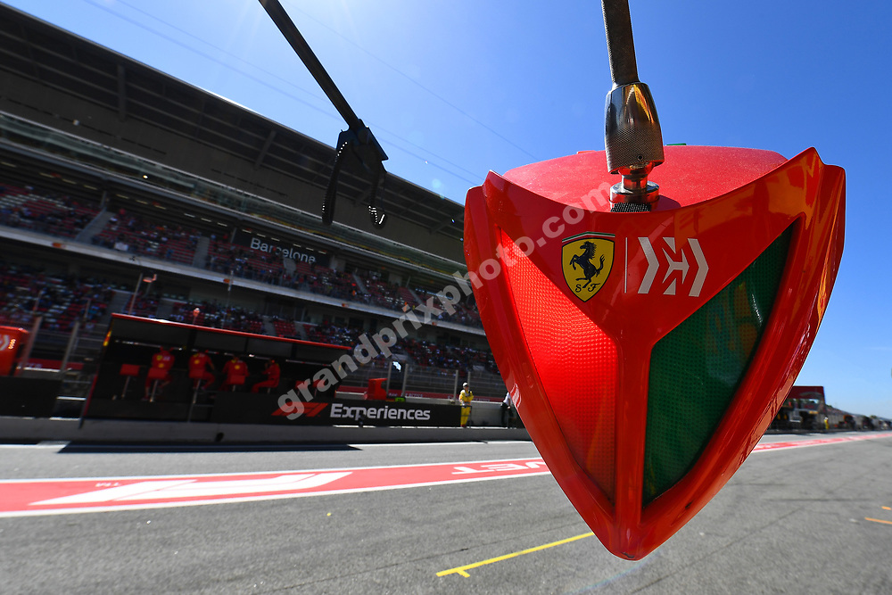 Ferrari pit-stop equipment before the 2019 Spanish Grand Prix at the Circuit de Barcelona-Catalunya. Photo: Grand Prix Photo