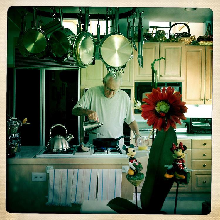 Photo by Matt Roth<br /> <br /> Grandpa Roth makes me some birthday breakfast.<br /> <br /> Centennial, Colorado on Tuesday, August 06, 2013