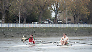 """Putney. London. GREAT BRITAIN;  Left. GBR LM. Peter HAINING and Niall O""""TOOLE. <br /> <br /> 1995 Thames World Sculling Championships, Putney to Mortlake. Championship Course, River Thames.<br /> <br /> [Mandatory Credit; """"Photo, Peter Spurrier/Intersport-images]"""