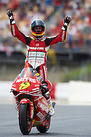 BARCELONA, SPAIN - JUNE 14: Alvaro Bautista of Spain and Mapfre Aspar celebrates after winning the 250cc race during the Catalunya GP on June 14, 2009 in Barcelona, Spain. (Photo by Manuel Queimadelos/Firofoto)