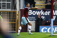 Andre Gray of Burnley celebrates after scoring his teams 2nd goal. Skybet football league Championship match, Burnley v Huddersfield Town at Turf Moor in Burnley ,Lancs on Saturday 31st October 2015.<br /> pic by Chris Stading, Andrew Orchard sports photography.