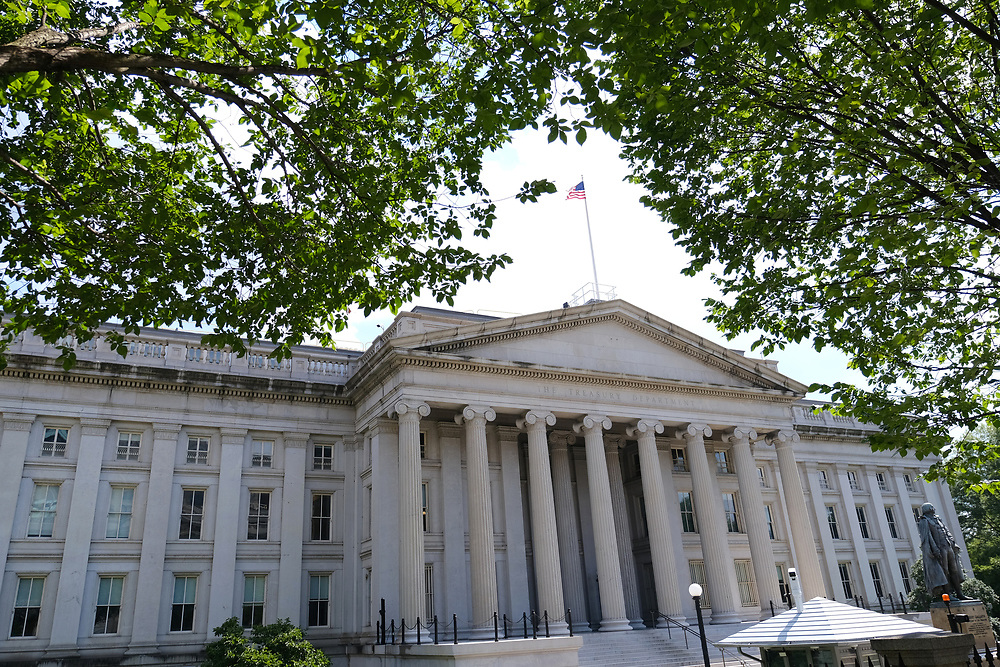 WASHINGTON - JUNE 29, 2019: The U.S. Department of the Treasury is seen from Pennsylvania Avenue NW on June 29, 2019, in Washington, D.C.