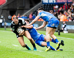 Cory Allen of Ospreys is tackled by Josh Lewis of Dragons<br /> <br /> Photographer Simon King/Replay Images<br /> <br /> Guinness PRO14 Round 18 - Ospreys v Dragons - Saturday 23rd March 2019 - Liberty Stadium - Swansea<br /> <br /> World Copyright © Replay Images . All rights reserved. info@replayimages.co.uk - http://replayimages.co.uk