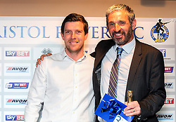 Bristol Rovers Manager Darrell Clarke with the winner of the third prize at the Sponsors Draw - Mandatory by-line: Robbie Stephenson/JMP - 15/04/2016 - FOOTBALL - The Memorial Ground - Bristol, England -  v  - Bristol Rovers Sponsor Draw