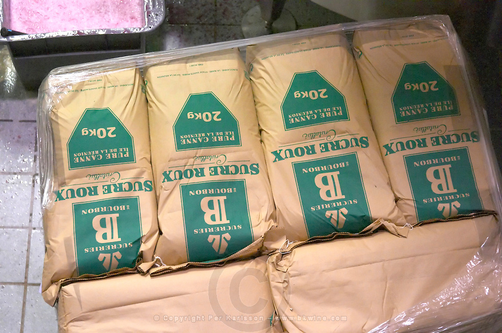 sacks of sugar for chaptalisation georges duboeuf beaujolais burgundy france