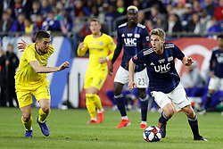 May 15, 2019 - Foxborough, MA, U.S. - FOXBOROUGH, MA - MAY 15: Chelsea FC midfielder Mateo Kovacic (17) moves in on New England Revolution midfielder Scott Caldwell (6) during the Final Whistle on Hate match between the New England Revolution and Chelsea Football Club on May 15, 2019, at Gillette Stadium in Foxborough, Massachusetts. (Photo by Fred Kfoury III/Icon Sportswire) (Credit Image: © Fred Kfoury Iii/Icon SMI via ZUMA Press)