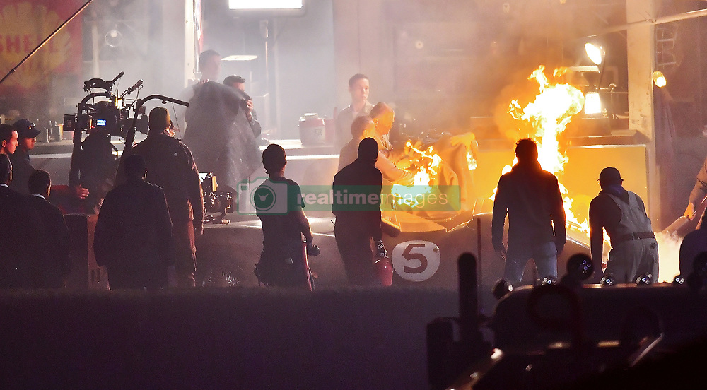 *PREMIUM EXCLUSIVE* Matt Damon was set on fire while filming scenes for his new movie Ford v. Ferrari outside of Los Angeles, CA. The actor who plays race car driver Carroll Shelby filmed the scenes at a private airport outside of Los Angeles where the production built a mock up race track. The film also stars Christian Bale who plays Ken Miles. 23 Oct 2018 Pictured: Matt Damon was set on fire while filming scenes for his new movie Ford v. Ferrari outside of Los Angeles, CA. The actor who plays race car driver Carroll Shelby filmed the scenes at a private airport outside of Los Angeles where the production built a mock up race track. The film also stars Christian Bale who plays Ken Miles. Photo credit: P & P/Marksman / MEGA TheMegaAgency.com +1 888 505 6342