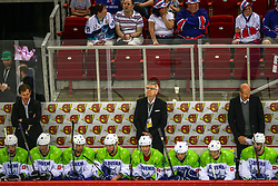 Kari Saovolainen, head coach of Slovenia with his players during Ice Hockey match between National Teams of Great Britain and Slovenia in Round #1 of 2018 IIHF Ice Hockey World Championship Division I Group A, on April 22, 2018 in Budapest, Hungary. Photo by David Balogh / Sportida