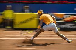 April 27, 2018 - Barcelona, Catalonia, Spain - RAFAEL NADAL (ESP) returns the ball to Martin Klizan (SVK) in their quarter final of the 'Barcelona Open Banc Sabadell' 2018. Nadal won 6:0, 7:5 (Credit Image: © Matthias Oesterle via ZUMA Wire)