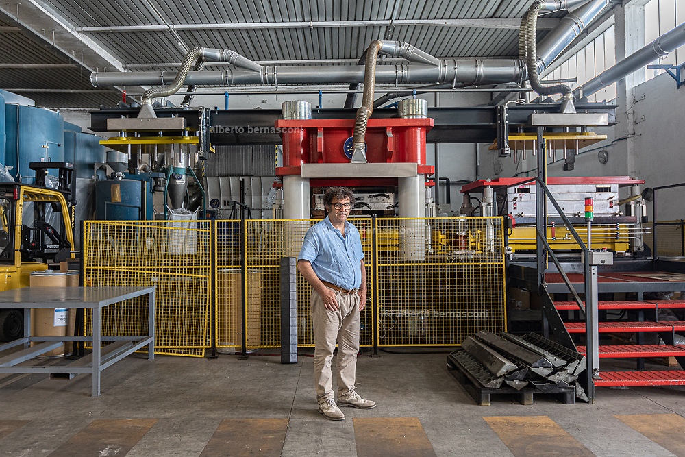 CAPANNORI, Tuscany, Marco Severini, REPULP founder. Repulp mission is recycling plastic waste for producing long-lasting products. <br /> <br /> It origins from our experience in the plastics sector as producers and recyclers in Selene S.p.A . <br /> <br /> Repulp was born as a spin-off, collecting the know-how of the European Life Eco-Pulplast project.<br /> It is possible to read a summary of the project on the European union Life portal at this link.<br /> <br /> The special technology allows us to design and manufacture pallets and logistics accessories using 100% recycled plastic from waste by injection molding. <br /> <br /> Our mission is to recover plastic, even that one present in the separate collection of paper, to create new and sustainable products, which can be recycled as well.