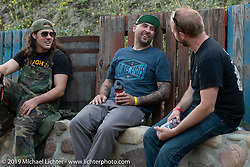 Brad Gregory and BFL invited custom bike builder Grimey (Rod Davis) at Cook's Corner during the Born Free Motorcycle Show in Trabuco Canyon, CA, USA. Saturday, June 22, 2019. Photography ©2019 Michael Lichter.