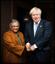 London Mayor Boris Johnson meets Chief Minister of Delhi, Sheila Dikshit, on the second day of a six-day tour of India, where he will be trying to persuade Indian businesses to invest in London, Monday November 26, 2012. Photo by Andrew Parsons / i-Images..POOL