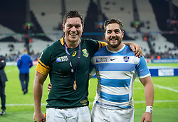 Bath Rugby team-mates Francois Louw of South Africa and Horacio Agulla of Argentina pose for a photo after the match - Mandatory byline: Patrick Khachfe/JMP - 07966 386802 - 30/10/2015 - RUGBY UNION - The Stadium, Queen Elizabeth Olympic Park - London, England - South Africa v Argentina - Rugby World Cup 2015 Bronze Final.