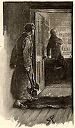 The Adventure of the Musgrave Ritual'. Reginald Musgrave, seeing a light under the Library door in the middle of the night, is surprised to discover Brunton, his butler, not the burglar he expected. From 'The Adventures of Sherlock Holmes' by Conan Doyle from 'The Strand Magazine' (London, 1893). Illustration by Sidney E Paget, the first artist to draw Sherlock Holmes.  Engraving.