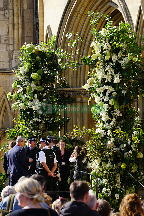 Ellie Goulding is seen leaving York Minster with her new husband Caspar Jopling following their marriage ceremony today. The <br />  wedding was attended by many famous faces including Princess Beatrice, Princess Eugenie, Sarah Ferguson, Duchess of York, James Blunt and Sienna Miller.<br /><br />31 August 2019.<br /><br />Please byline: Vantagenews.com