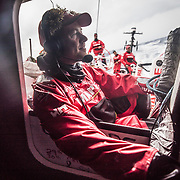 Leg 8 from Itajai to Newport, day 13 on board MAPFRE, Antonio Cuervas-Mons with some seaweed on the head during a LiveX call. 04 May, 2018.
