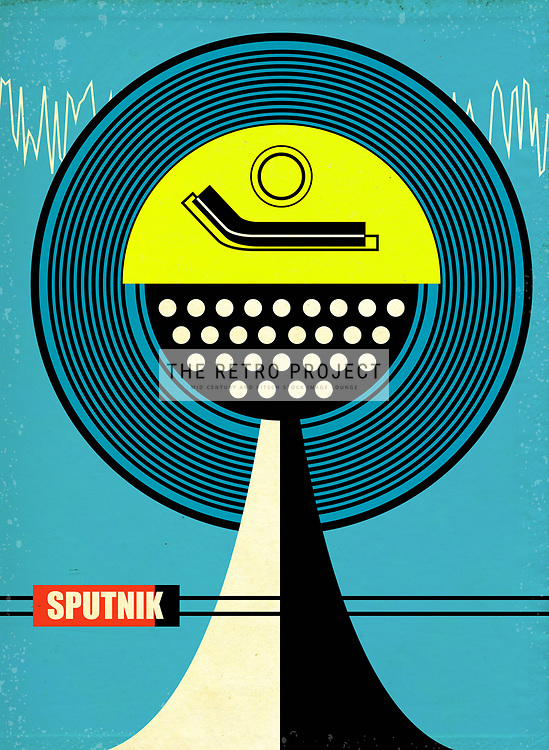 Mid Century Sputnik Audio Sound System Illustration with blue background and aged textured overlays in blue